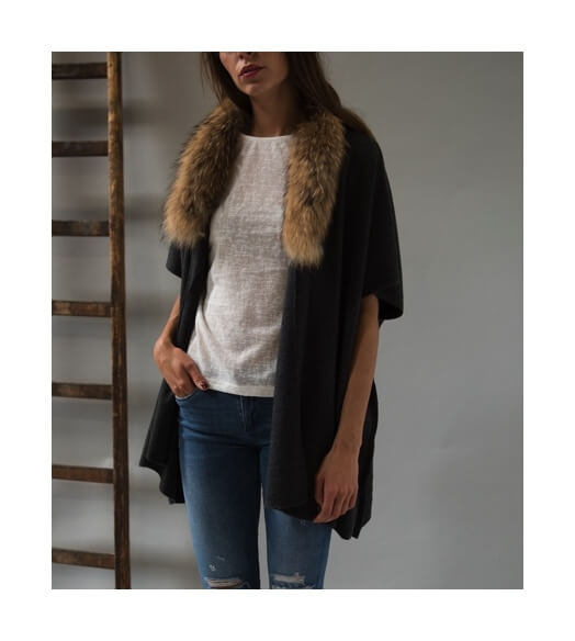 gilet col fausse fourrure amovible