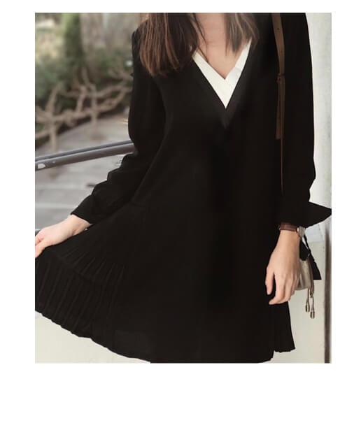 robe tendance noire plissée