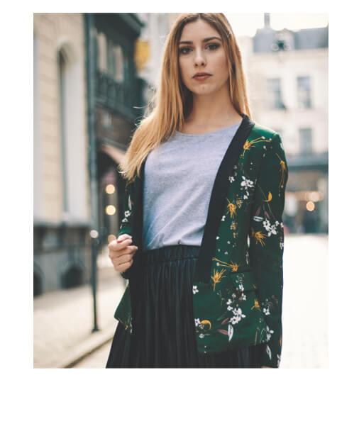 veste tendance imprimee fleurs