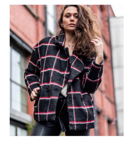 manteau à carreaux femme