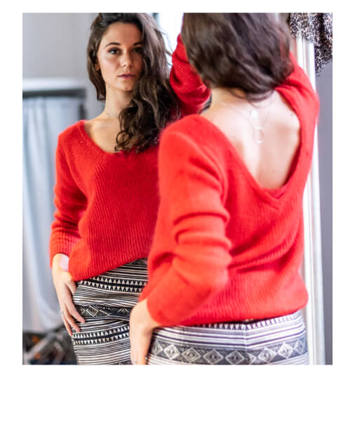 pull mohair rouge
