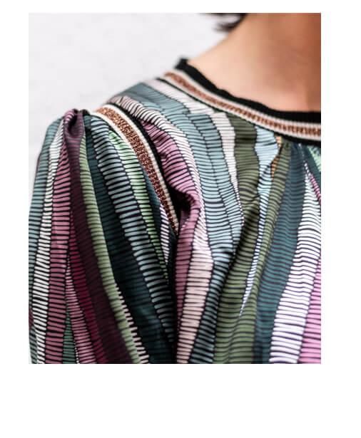 blouse fluide bord côtes lurex