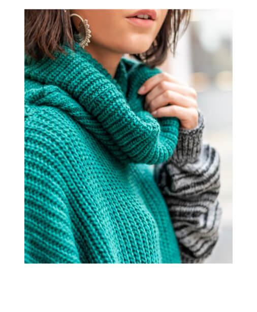 grossiste 9f40f 638d4 | DAPHNE | Robe pull oversize col roulé motif graphique