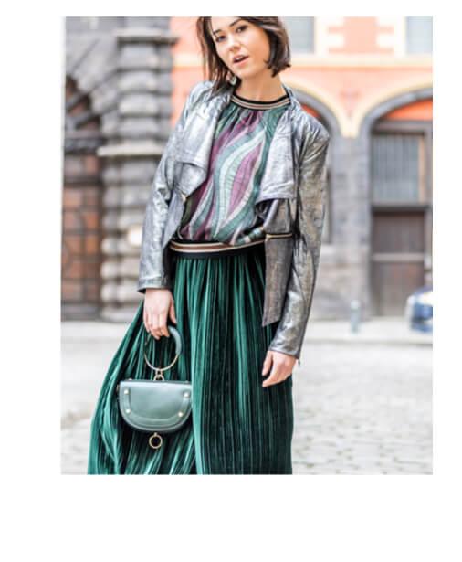 veste perfecto look jupe mi-longue