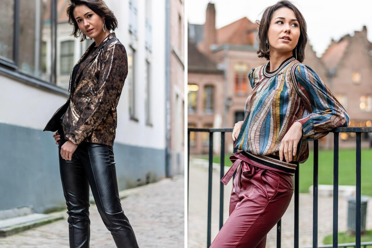 pantalon en simili cuir noir et bordeau