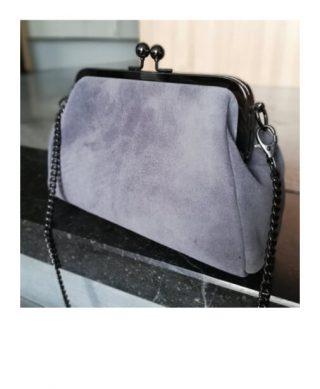 sac à main vintage gris