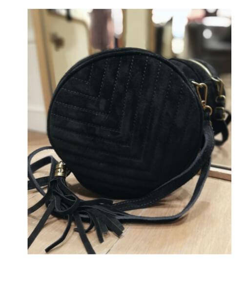 sac rond cuir et bandoulière réglable vera pelle noir