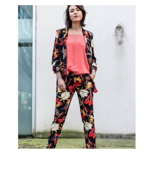 Tailleur pantalon Femme Fleuri Pas Cher :