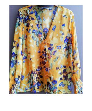 achat blouse jaune imprimee fleurs