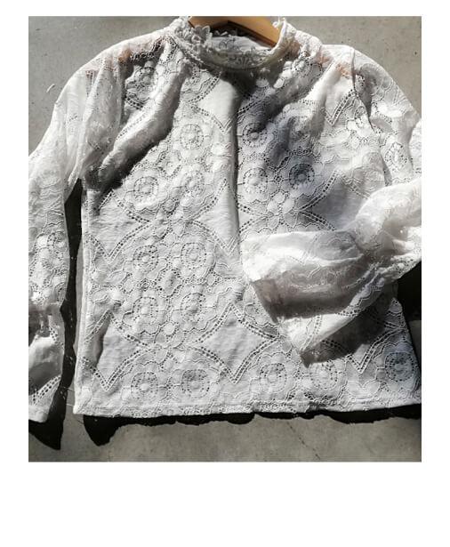 achat blouse dentelle blanche ajourée
