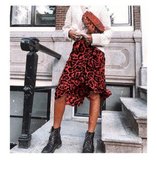 achat jupe imprime leopard a volants
