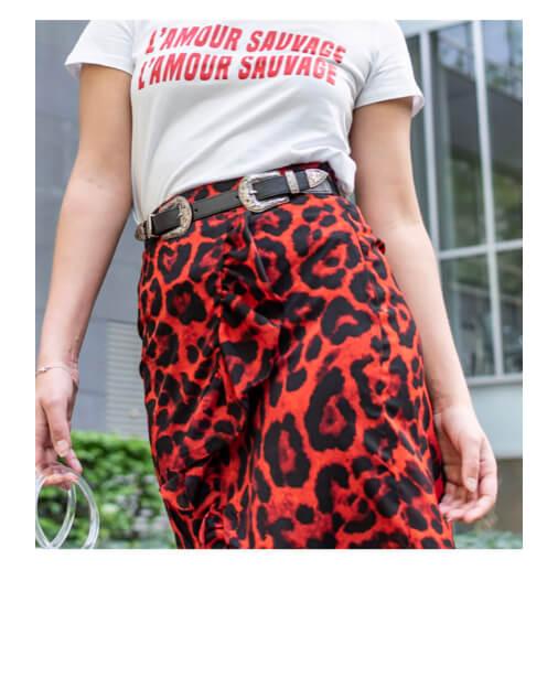 jupe rouge imprime léopard