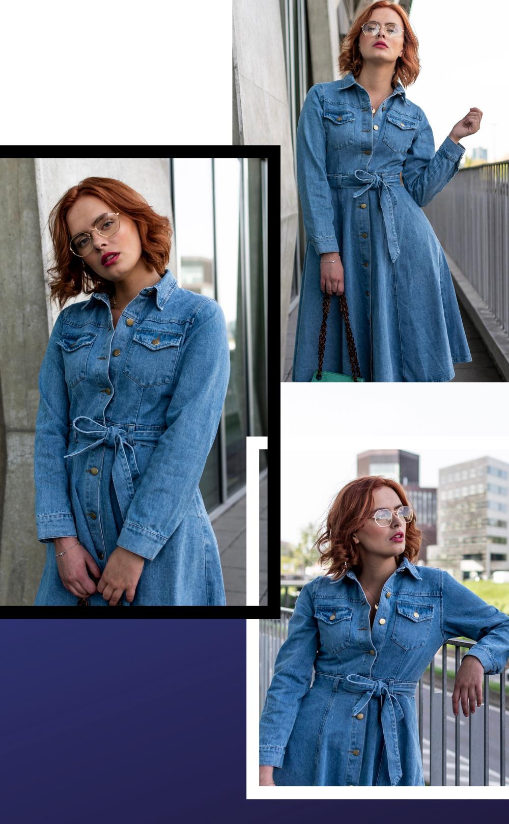 look denim avec notre robe en jean, blog mode laisse les parler