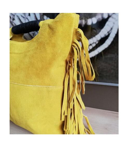 sac à main cuir jaune poignées lacées