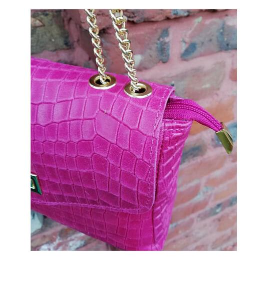 sac cuir effet croco rose