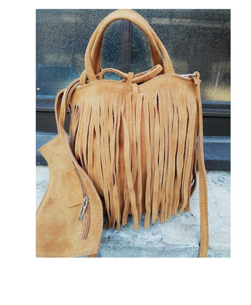 sac en croute de cuir camel à franges
