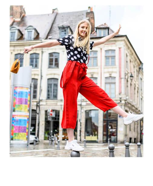 pantalon rouge bretelles amovibles
