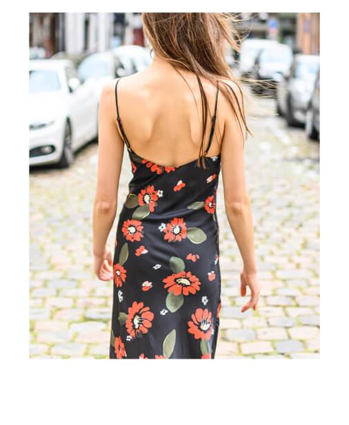 robe à fleurs dos à bretelles