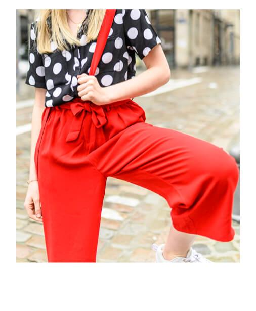 pantalon rouge fluide