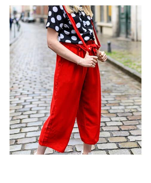 achat pantalon à bretelles rouge