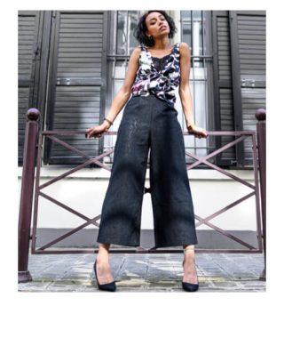 pantalon dentelle noir taille haute