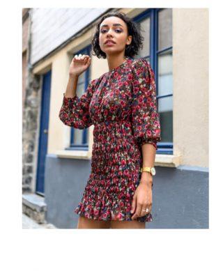 robe a imprime fleuri elastique