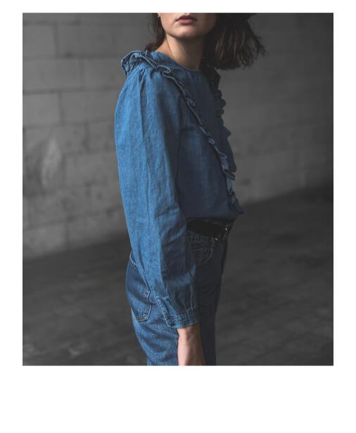 chemise en jean a volants