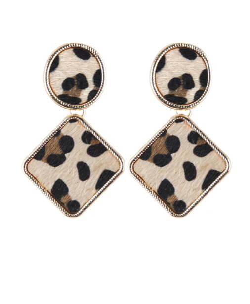 boucles d'oreilles leopard beige