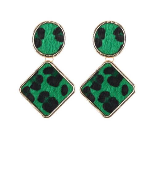 boucles d'oreilles pendantes verte