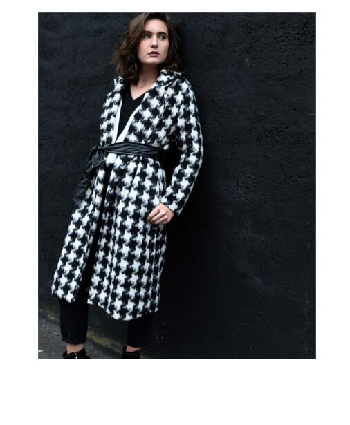 manteau long imprimé carreaux