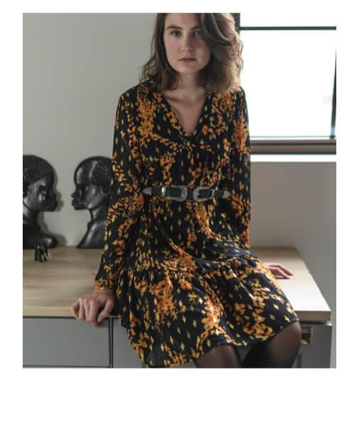 robe imprimée manches longues