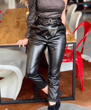 pantalon noir paperbag