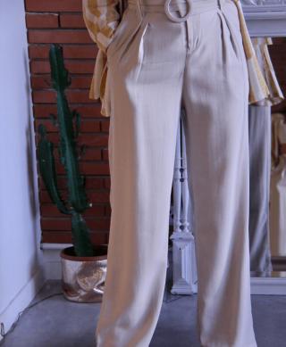 pantalon large à ceinture taille haute
