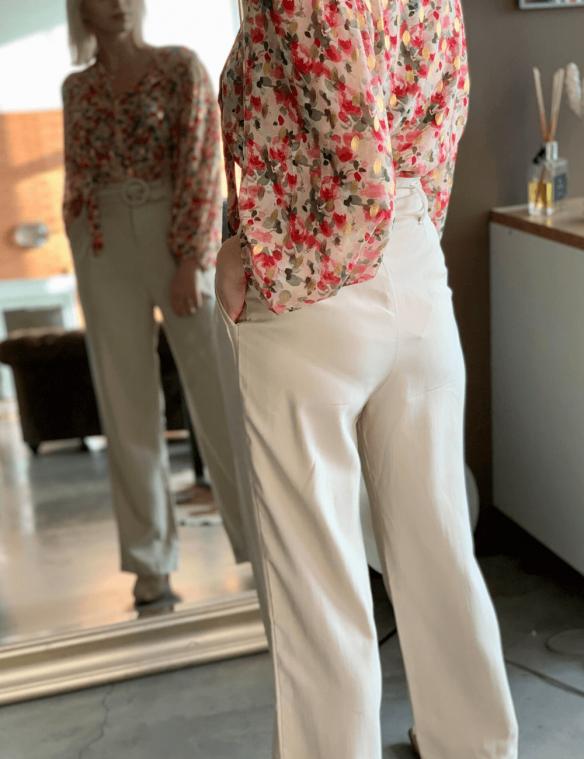 pantalon paper bag ceinture ecru
