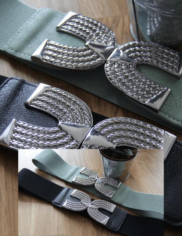 ceinture élastique boucle argenté