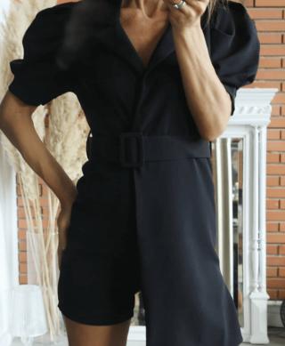 combishort blazer noir manches courtes