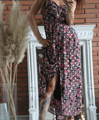 robe longue boutonnee a bretelles