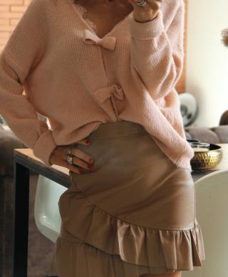 acheter jupe camel effet cuir et volants