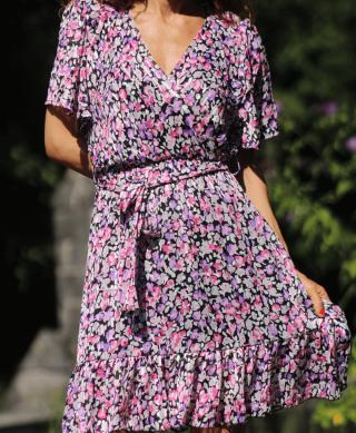 robe courte volant imprime fleurie
