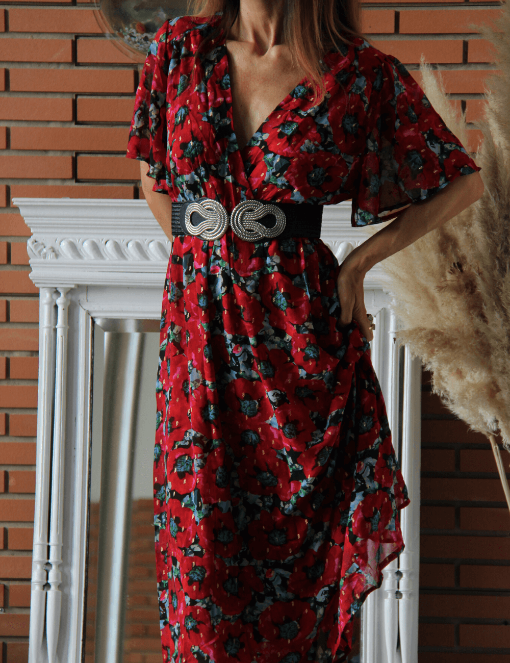 robe longue dos nu fleurie