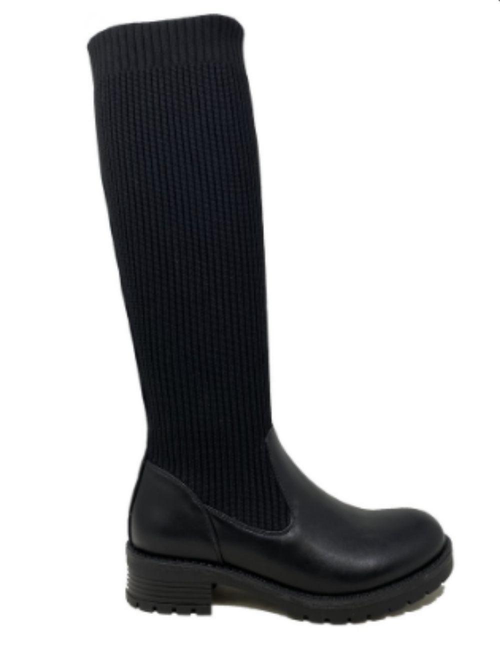 bottes chaussettes noires en maille
