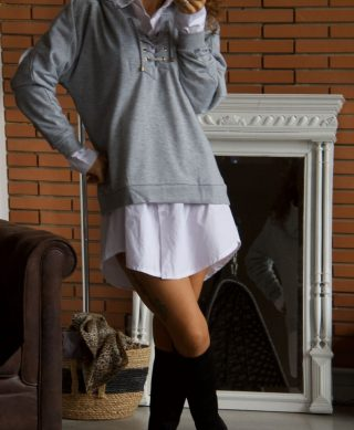 pull capuche casual gris