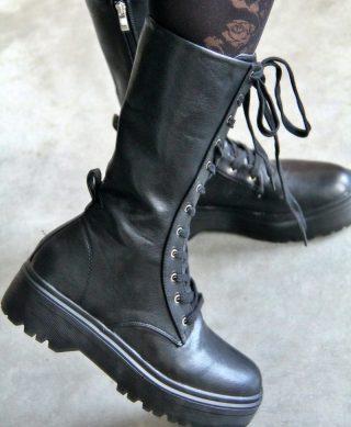 bottes hautes noires a lacets