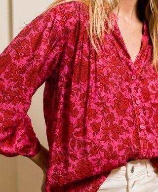 chemise imprimee soie fuchsia