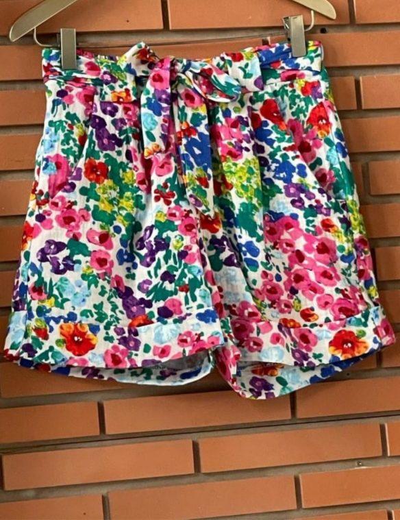 short coton imprime fleurs