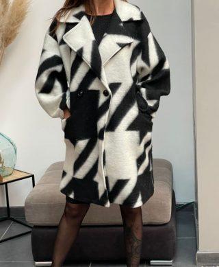 manteau laine pied de poule noir et blanc