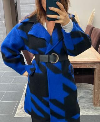 manteau laine pied de poule bleu oversize
