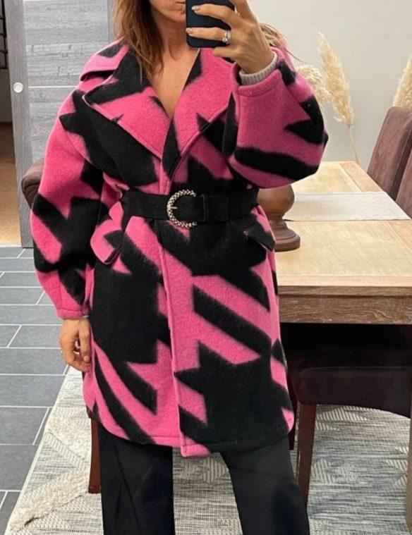 manteau laine pied de poule rose