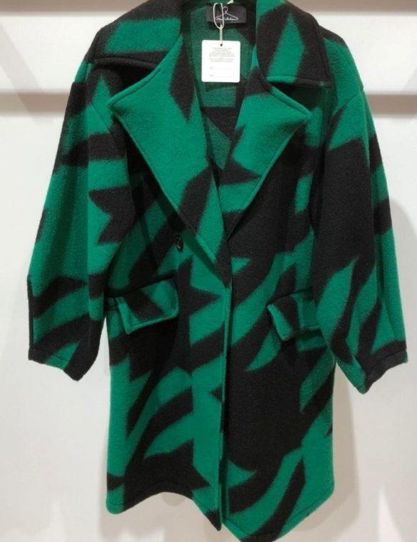 manteau laine pied de poule vert