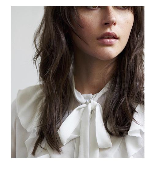 blouse tendance blanche col jabot artlove